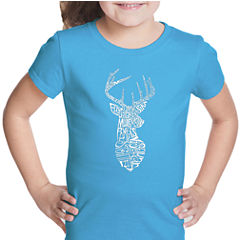 Los Angeles Pop Art Types Of Deer Short Sleeve Graphic T-Shirt Girls