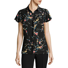 Worthington Short Sleeve Button Front Blouse
