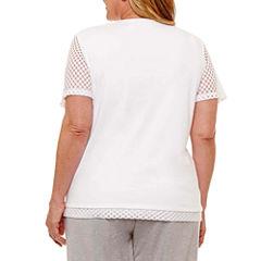 Alfred Dunner Long Weekend Short Sleeve Split Crew Neck T-Shirt-Womens Plus