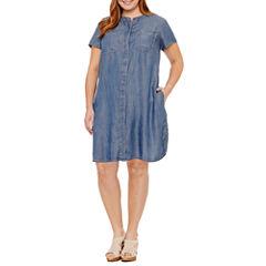 Liz Claiborne Short Sleeve Shirt Dress-Plus