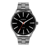 Mens Geneva Gunmetal Round Dial Watch 33572