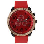 Olivia Pratt Mens Decorative Tachymeter Red Silicone Watch 13586Royalsilver