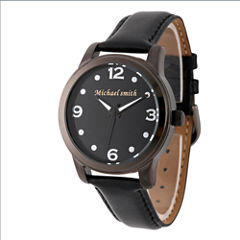 Personalized Mens Black Alloy Leather Strap Watch