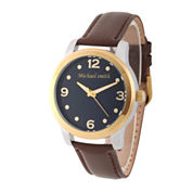 Personalized Mens Gold Tone Alloy Brown Leather Strap Watch