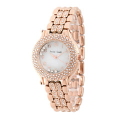 Personalized Womens Rose Gold Tone Crystal Accent Bracelet Watch