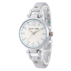 Personalized Womens Silver Tone Bangle Bracelet Watch