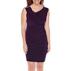 Scarlett Sleeveless Embellished-Shoulder Sheath Dress