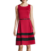 Liz Claiborne® Sleeveless Belted Fit-and-Flare Dress