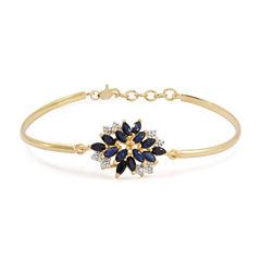 Lab Created Blue & White Sapphire 14K Gold Over Silver Bangle Bracelet