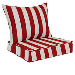 Red Stripe Deep Seat Cushion Set