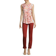 Liz Claiborne® Button-Front Pintuck Blouse or City-Fit Skinny Ankle Pants