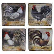 Certified International Vintage Rooster Set Of 4 Dinner Plates