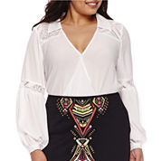 Bisou Bisou® Long-Sleeve Twist-Front Lace Blouse - Plus