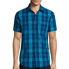 JF J. Ferrar® Short-Sleeve Woven Slim-Fit Shirt