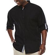 Steve Harvey Long-Sleeve Banded Collar Shirt - Big & Tall