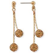 Monet® Yellow Crystal Linear Drop Earrings