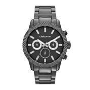 Claiborne® Mens Textured Bezel Gunmetal Watch