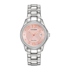 Citizen® Eco-Drive® Silhouette Womens Crystal-Accent Pink Dial Watch FE1140-86X