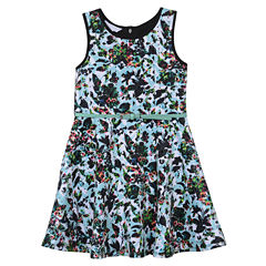 Marmellata Floral Sleeveless Skater Dress w/ Belt- Girls' 7-16