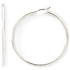 Monet® Silver-Tone Thin Large Hoop Earrings