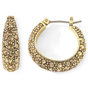 Monet® Gold-Tone Brown Pavé Hoop Earrings