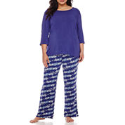 Ambrielle® 3/4-Sleeve Pajama Set - Plus