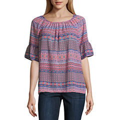 Liz Claiborne Elbow Sleeve Scoop Neck Woven Blouse