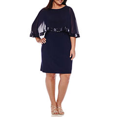 Scarlett Sleeveless Overlay Sequin Trim Dress - Plus