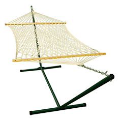 Single Cotton Rope With Frame Hammock