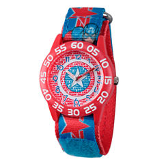 Marvel Boys Red And Blue Avengers Assemble Time Teacher Plastic Strap Watch W003220