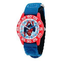 Marvel Boys Blue Ultimate Spiderman Time Teacher Plastic Strap Watch W003228