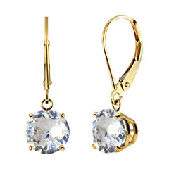 Lab-Created White Sapphire 10k Yellow Gold Leverback Dangle Earrings