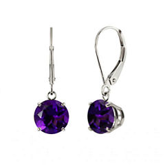 Genuine Amethyst 10k White Gold Leverback Dangle Earrings