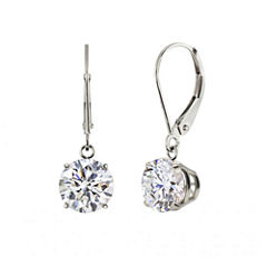 Genuine White Topaz Sterling Silver Leverback Dangle Earrings