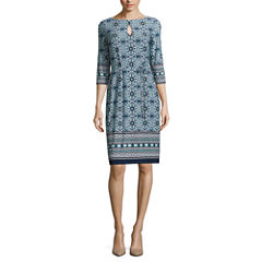 Liz Claiborne Elbow Sleeve Pattern Shift Dress