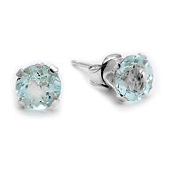 Genuine 6mm Aquamarine 10K White Gold Stud Earrings