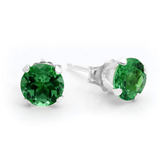 Lab-Created 6mm Emerald 10K Yellow Gold Stud Earrings