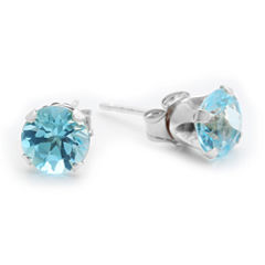 Genuine 6mm Blue Topaz 10K Yellow Gold Stud Earrings