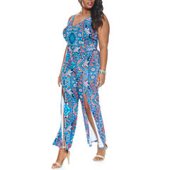 Fashion To Figure Aztec Print Split Leg Jumpsuit-Plus