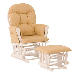 Storkcraft Hoop Glider And Ottoman - White W/ Khaki Cushions Dome-Arm Solid Glider