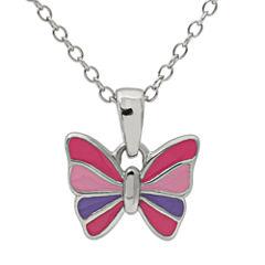 Hallmark Kids Sterling Silver Enamel Butterfly Pendant