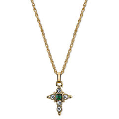 Symbols Of Faith Religious Jewelry Womens Green Crystal Pendant Necklace