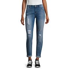 Arizona Boyfriend Fit Destructed Jeans-Juniors