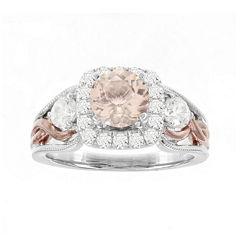 Blooming Bridal Genuine Morganite and Diamond 14K Rose Gold Ring