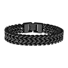 Mens Black Ion-Plated Stainless Steel Braided Multi-Row Chain Bracelet