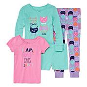 Okie Dokie® 4-pc. Yawn Cats Pajama Set - Preschool Girls 4-6x