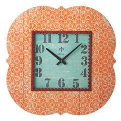 Orange Wall Clock with Metal Trim