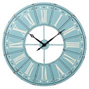 Sky Blue White Roman Numeral Wall Clock