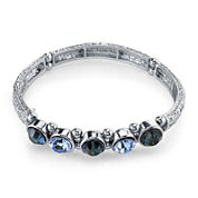 1928® Jewelry Multi-Blue Stone Silver-Tone Stretch Bracelet