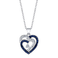 Crystal Sophistication™ Blue and Clear Crystal Double Heart Pendant Necklace